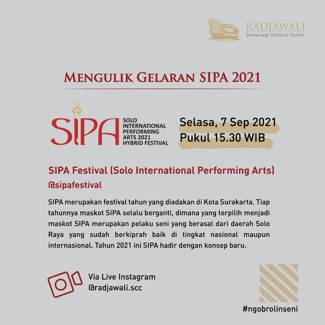#NgobrolinSeni SIPA Festival 2021